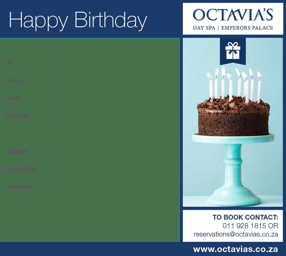 Happy Birthday Gift Voucher R250 Octavias Day Spa